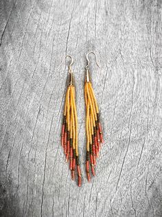 Fringe Earrings, Color Block Seed Bead Earrings in Amber, Bronze, Flame. Fall Fashion Tribal Jewelry. $40.00, via Etsy.
