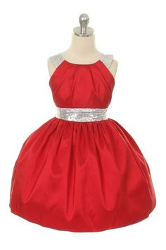 Sweet Kids Special Occasion Pleated Taffeta Dress with Sequin Trim