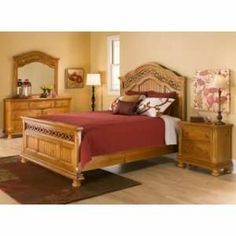 wrought iron and wood bedroom sets | King Bedroom Set Hand Forged Wrought Iron Solid Poplar Wood