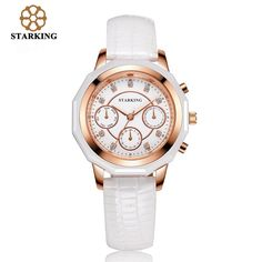 (38.58$)  Watch here  - STARKING Luxury Ladies Quartz Watches Leather Dress Gold Wrist Watches for Women Bracelet Watch BL0961 montre marque luxe femme