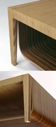 "When we first spotted NADAAA Architects' Bob Sidetable and Edna Desk, we thought ah, sure, we've seen plywood stacked to create solid forms before.It gets a little more interesting with their Gomez Coffee Table, where the stacked sheets unexpectedly give birth to a flowing lower shelf:""The idea of this table,""..."