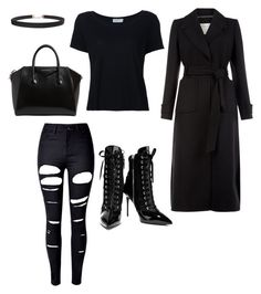 """all black everything"" by gold-pineapples ❤ liked on Polyvore featuring Giuseppe Zanotti, WithChic, Monsoon, Frame, Givenchy and Humble Chic"