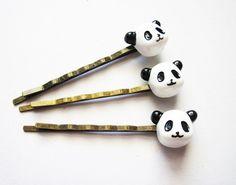 Panda hair pins Panda bobby pins Panda Accessories by RobertaValle Panda Love, Cute Panda, Panda Party, My Spirit Animal, Barbie, Little Gifts, Hair Pins, Bobby Pins, Hair Accessories