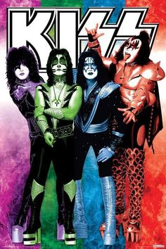 The KISS (band) Block on Yardsellr photo Kiss Rock Band Group Shot Colors Music Poster