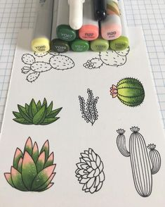 and cactus doodles with copic markers.Succulent and cactus doodles with copic markers. cauliflower july calligraphy bullet journal lettering tips calligraphie carnet bujo Cactus Design Elements. Copic Marker Art, Marker Kunst, Bullet Journal Art, Bullet Journal Ideas Pages, Bullet Journal Inspiration, Succulents Drawing, Cactus Drawing, Doodle Drawings, Easy Drawings