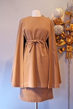60s Dress and Cape // Vintage 1960s Camel by xtabayvintage
