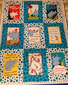 Dr. Seuss Horton Hears a Who Fabric Quilt/Throw/Comforter/Blanket for Baby/Child/Toddler/Lap by BellaGraceShoppe on Etsy https://www.etsy.com/listing/246180272/dr-seuss-horton-hears-a-who-fabric