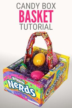 Learn how to make a Candy Easter Basket with theater candy boxes. Makes a great handmade gift! Click here for the step by step tutorial.#thecraftyblogstalker#bestcreativecrafts#easterbasket#eastercandy Spring Projects, Easter Projects, Easter Crafts, Holiday Crafts, Holiday Ideas, Easter Ideas, Crafts For Kids To Make, Easy Diy Crafts, Fun Crafts