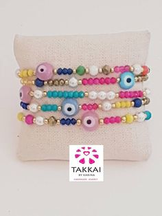 Set de 5  Pulseras  de Ojo Turco Perlas de vidrio  Cuentas #armcandy #evileyes #bracelet #pulseras #pulso #bohojewelry #giftforher