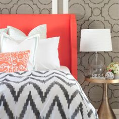 DIY Coral Upholstered Headboard with Curved Arms (via Sarah M Dorsey Designs)
