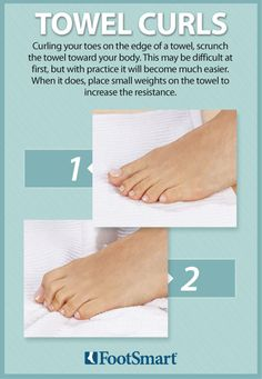 Try this simple towel curl exercise to strengthen your feet. Curling your toes on the edge of a towel, scrunch the towel toward your body. This may be difficult at first, but with practice it will become much easier. When it does, place small weights on the towel to increase the resistance. #Exercise #FootHealth
