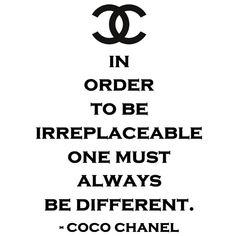 Irreplaceable Be Different CoCo Chanel vinyl wall by SpiffyDecals, $28.99