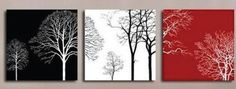 hand-painted oil wall art Red black  forest tree home decoration Modern Abstract 0il painting canvas 3pcs/set wood  Framed