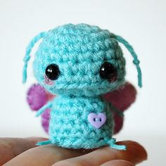 Kawaii Blue Butterfly Mini Amigurumi by twistyfishies on Etsy, $14.00