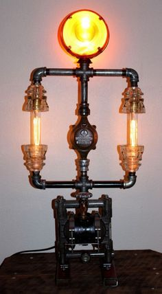 Industrial Steampunk Lamp Brass Pipe Vintage Glass Insulators Machine Age Light