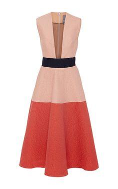 Sleeveless Color Block Dress by Lela Rose   Moda Operandi