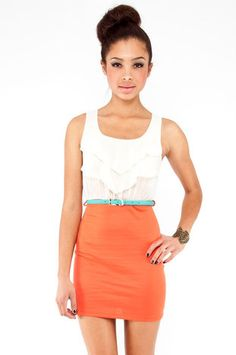 Color Block Tier Dress in Orange $30