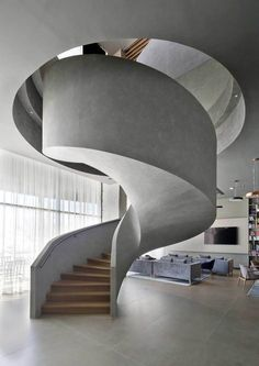 Modern architecture house design with minimalist style and luxury exterior and interior and using th - Stairs - [post_tags Staircase Architecture, Interior Staircase, Modern Architecture House, Interior Architecture, Concrete Staircase, Wood Stairs, Home Stairs Design, Carports, Minimalist House Design