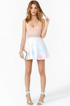 Rainbow Fade Skater Skirt