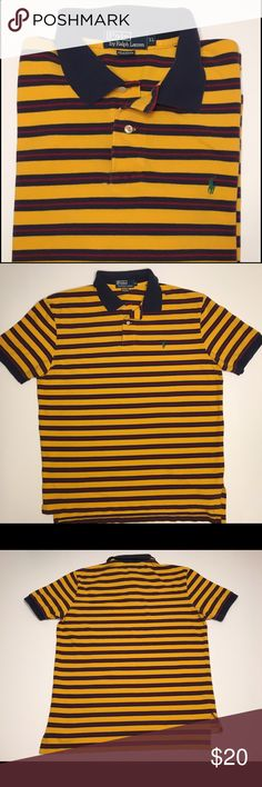 Classic Polo By Ralph Lauren Men's Knit Shirt Lrg Classic Green Tag Polo By Ralph Lauren Men's Knit Shirt With Yellow,Blue And Red Stripes Size XL. In Excellent Used Condition With No Tears Or Stains. Polo by Ralph Lauren Shirts Polos