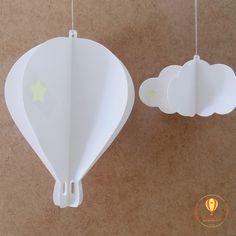 Balão e nuvem de papel em 3d. Chá de bebê, batizado.