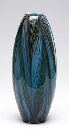 Peacock Feather Glass Vase