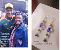 A Photo Of International Cricketer Darren Sammy and Me! And My St Lucian Flag Colours Inspired Heart Earrings!