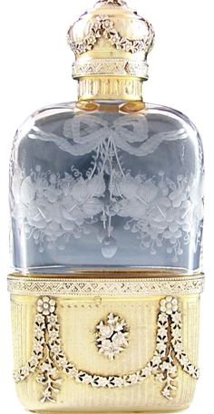 Ornate Antique French Sterling Silver Cut Glass Engraved Liquor Hip Flask.