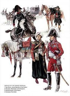 1-Général Duroc, Grand Maréchal du Palais.  2-Roustam, Mameluck de l'Empereur.  3-Intendant du Palais.  4-Constant, premier valet.