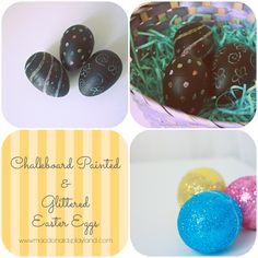 Quick Easter Egg Ideas: Chalkboard Painted & Glittered www.macdonaldsplayland.com