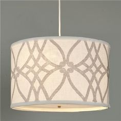 Trellis Linen Drum Shade Pendant from Shades of Light for over my kitchen table $149 - love the gray/white color
