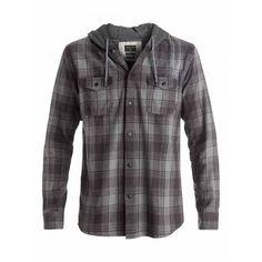 Mens Snap Up Hooded Long Sleeve Shirt