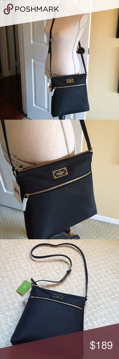 Kate Spade Blake ave crossbody bag This is the perfect bag to take with you anywhere! Love the soft nylon touch with plenty of space for your belongings! Gold toned hardware Front has zip pocket and Kate Spade name plate. Adjustable strap with maximum drop of approx. 22 inches. Interior is lined with Kate Spade fabric and features 1 zip pocket and 2 slip pockets Approx. Dimensions: 10 in L x 10 in H x 2.5 in W. A great bag for work or a weekend away! New with tags and never worn. kate spade…