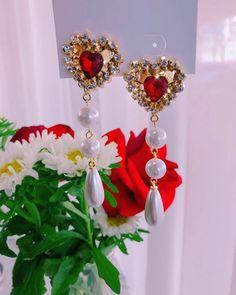 Unique Earrings, Dangle Earrings, Fashion Earrings, Fashion Jewelry, Korean Earrings, Fancy Clothes, Earring Box, Kawaii Accessories, Mineral Stone