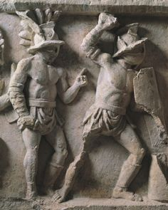 GReliefs showing gladiators in the arena. The most successful could earn fame, if not fortune, but few would survive more than a dozen fights. (Bridgeman Art Library)