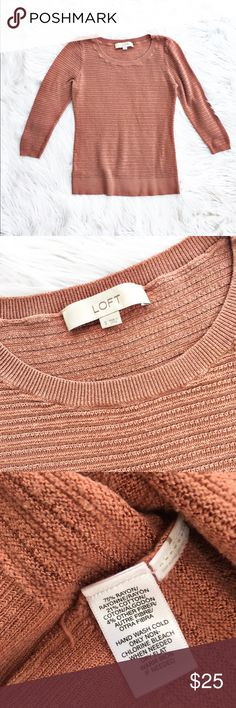 """Loft lightweight crewneck sweater Lightweight crewneck sweater with a delicate open weave, size small from Loft. Dusty pink color, excellent condition. Flat measurements are bust 16"""", length 22.5"""". LOFT Sweaters Crew & Scoop Necks"""