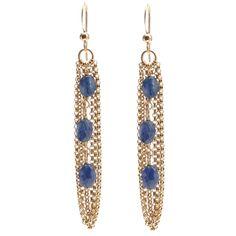 Blue Sapphire Gold Chain Earrings