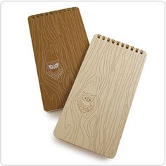 Cute wood grain owl notebooks
