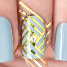 Stripes And Studs Nail Art Design Tutorial