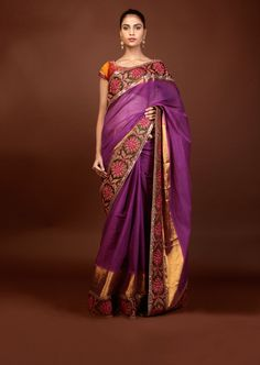 Sabyasachi  Purple Cotton saree with green and fuscia dori border