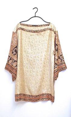 Pure silk kimono sleeve tunic / kaftan cream on Etsy