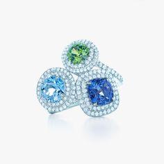 Oceanic hues capture beautiful memories of the sea. Tiffany Soleste® rings in platinum with diamonds, from left: aquamarine, tsavorite and tanzanite. #TiffanyPinterest #TiffanyWeddings