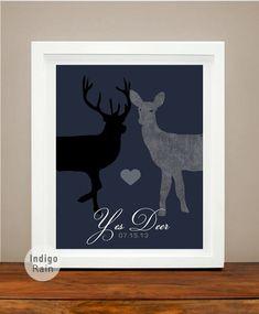 Yes Deer Deer Doe Antler Couples Wedding Date Heart by IndigoRain