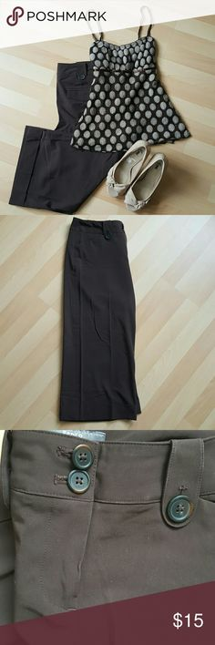Apt. 9 Dark Brown Wide Leg Dress Capris Stylish dress capris in a chocolate brown with Button Detail on the front and flap back pockets.  Great condition! Apt. 9 Pants Capris
