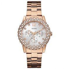 [PATROAMOB]Relógio Feminino Multifunção Guess, Pulseira De Aço Rosê, Swarovski - R$359,91