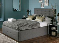 teal and gray bedroom   Teal and gray bedroom against honey color hardwood ...   Future Home