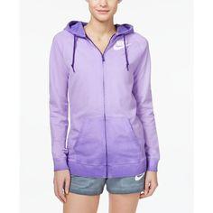 Nike Solstice Boyfriend Zip Hoodie ($70) ❤ liked on Polyvore featuring tops, hoodies, court purple, purple zip hoodie, purple hooded sweatshirt, cotton hoodies, sweatshirt hoodies and nike hoodie