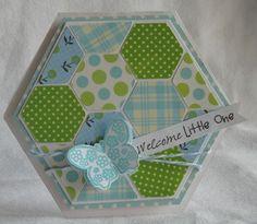 Hexagon shaped card set  Welcome little one  Kerys Sharrock - Hexagon shaped card