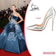 Karolina Kurkova in Christian Louboutin So Kate Pumps in Silver Kid Leather