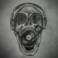 Dom's sketch of a music themed skull which he would love to make a Tattoo from!